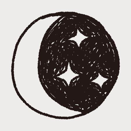 maan ster doodle Stock Illustratie