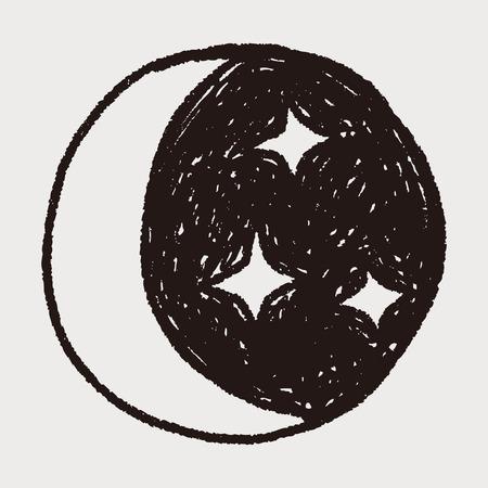 moon star doodle Ilustração
