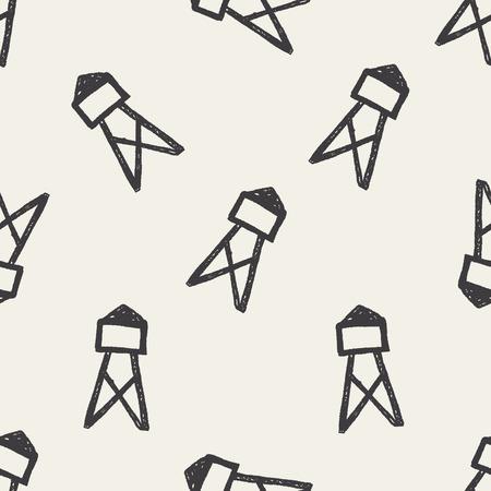 telephone pole: Transmission tower doodle seamless pattern background Illustration