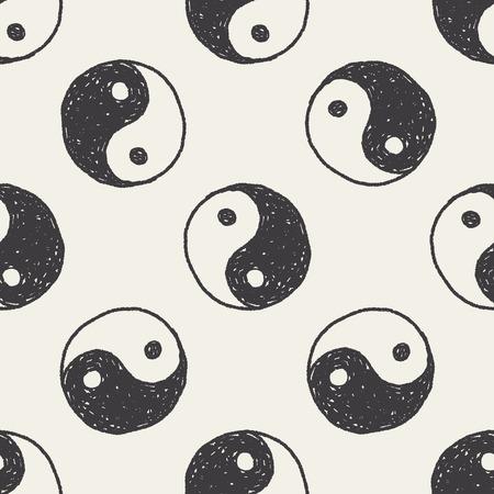 Tai Chi doodle seamless pattern background