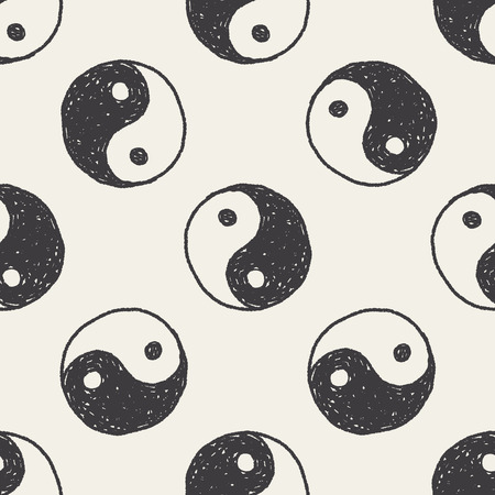 Tai Chi doodle seamless pattern background