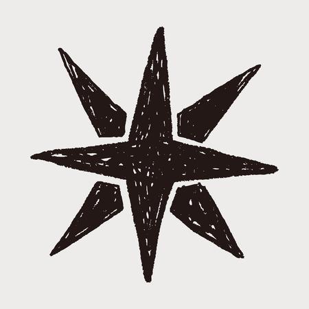 brujula: brújula doodle de estrellas