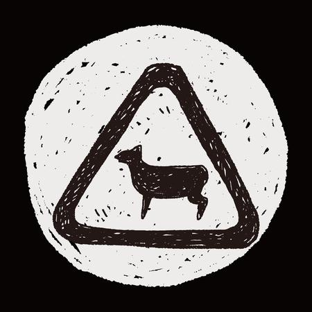 sheep road sign: sheep sign doodle Illustration
