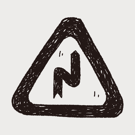 curve ahead sign: Winding Road doodle
