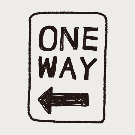 one way: one way sign doodle
