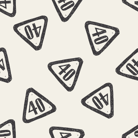 km: speed limit doodle seamless pattern background Illustration