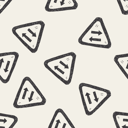 two lane highway: Two way doodle seamless pattern background