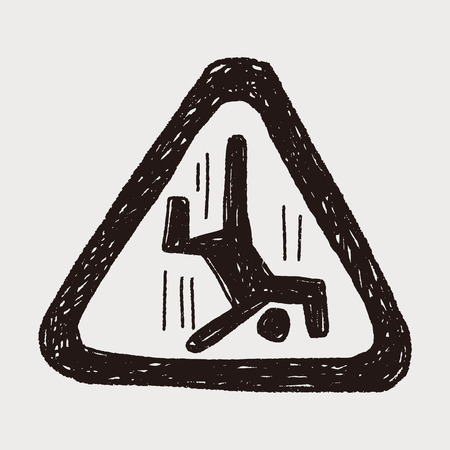 slip hazard: people fall sign doodle
