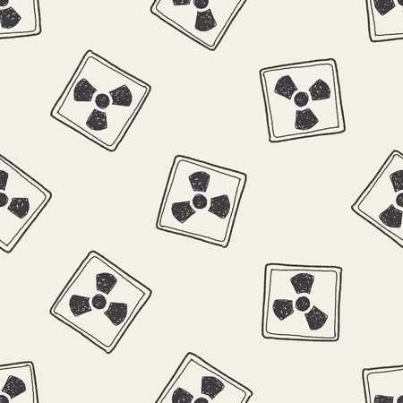 hazardous waste: Nuclear power sign doodle seamless pattern background