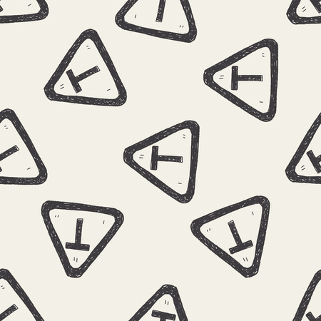 junction: T junction road doodle seamless pattern background
