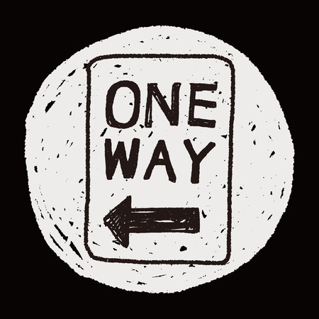 in a way: one way sign doodle