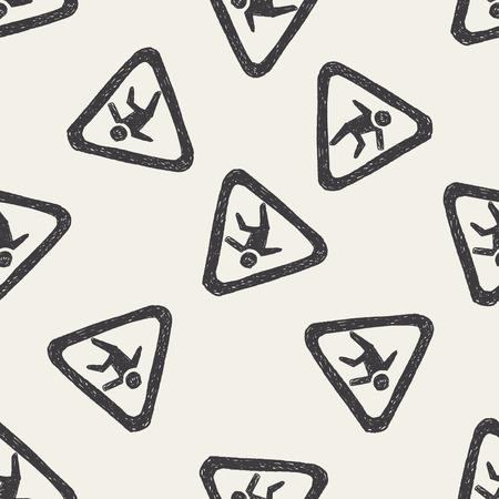 slippery floor: slip doodle seamless pattern background
