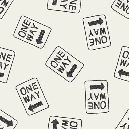 one way sign: one way sign doodle seamless pattern background