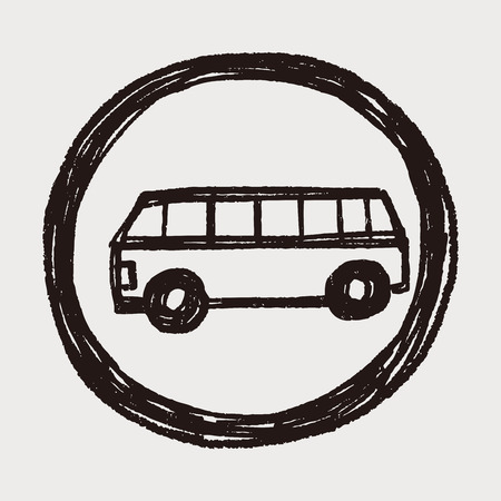 only bus drive doodle Vector