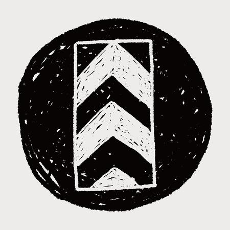 one way: One way doodle Illustration
