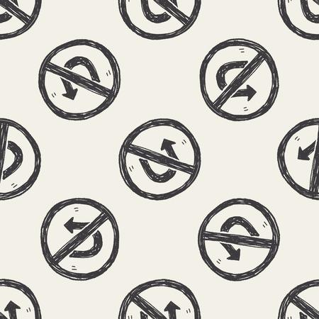 turn back: no Turn back doodle seamless pattern background Illustration