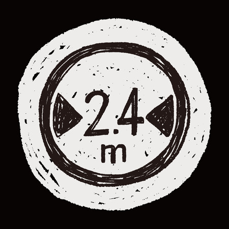 maximum: Maximum vehicle length doodle Illustration