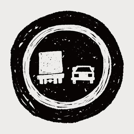 overtaking: no overtaking doodle Illustration