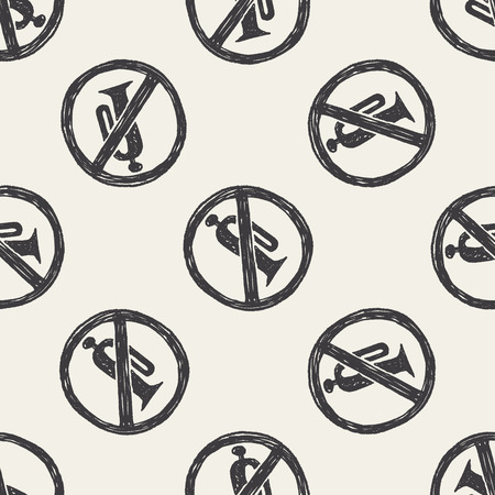 No horn doodle seamless pattern background Vector