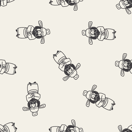 Chinese Man Doodle Seamless Pattern Background