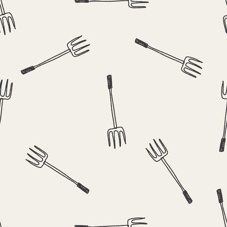 bales: fork doodle seamless pattern background Illustration
