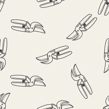 tree trimming: scissor doodle seamless pattern background