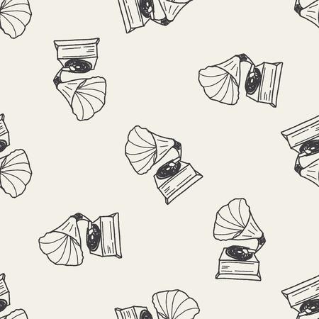 gramophone doodle seamless pattern background Illustration