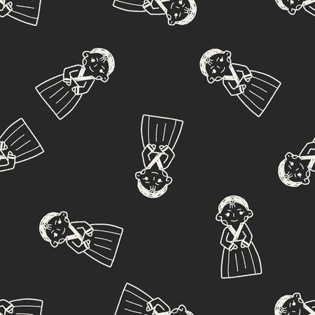 hanbok: Korea woman doodle seamless pattern background