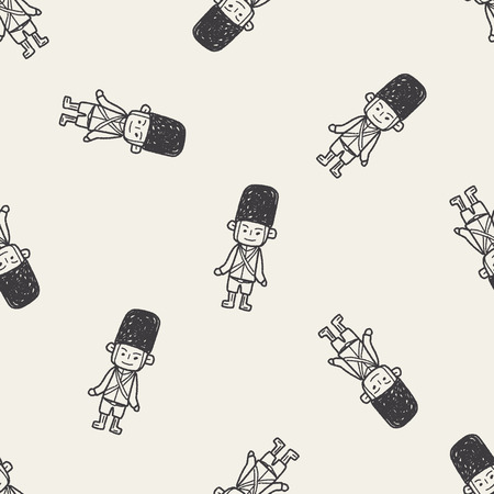 buckingham: England Soldier doodle seamless pattern background