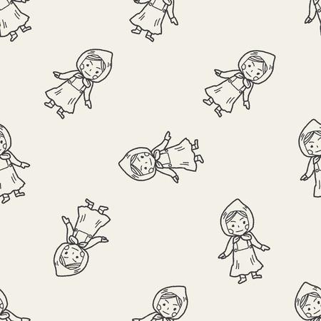 dutch: Dutch woman doodle seamless pattern background