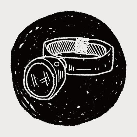 headlamp: Headlamp doodle Illustration