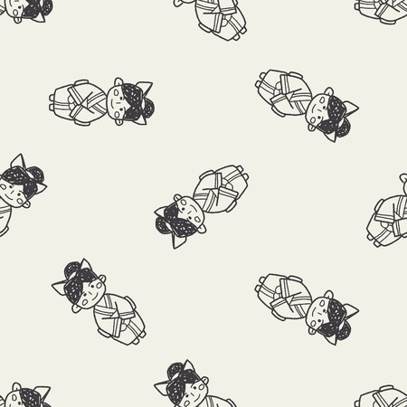 donna giapponese: Donna giapponese di doodle seamless