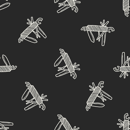 penknife: tools doodle seamless pattern background