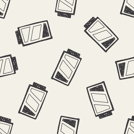 battery doodle drawing seamless pattern background Vector