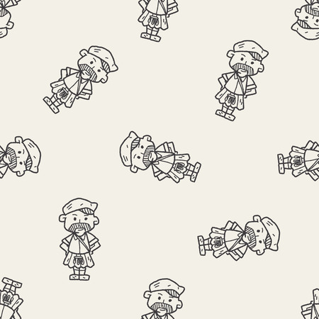 scot: scotland man doodle seamless pattern background