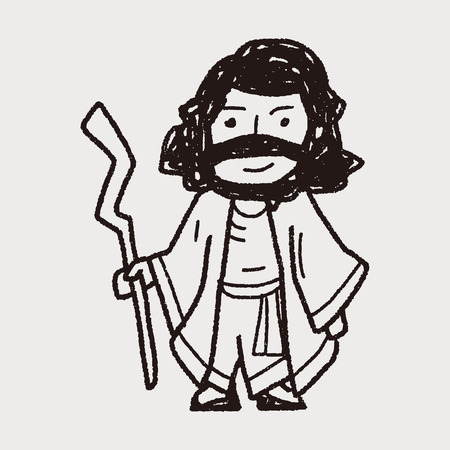 viso di uomo: Gesù Doodle Vettoriali