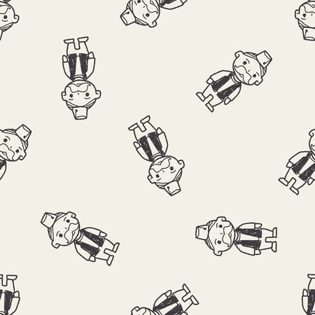 bollywood: indian old man doodle seamless pattern background