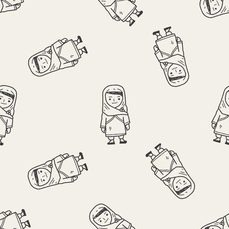 hijab: arab woman doodle seamless pattern background