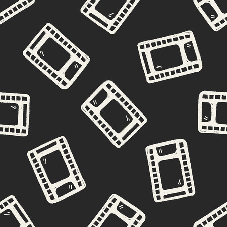 Doodle Film seamless pattern background Vector