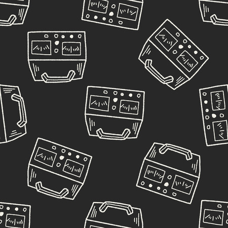 ammeter: electricity measurer doodle seamless pattern background