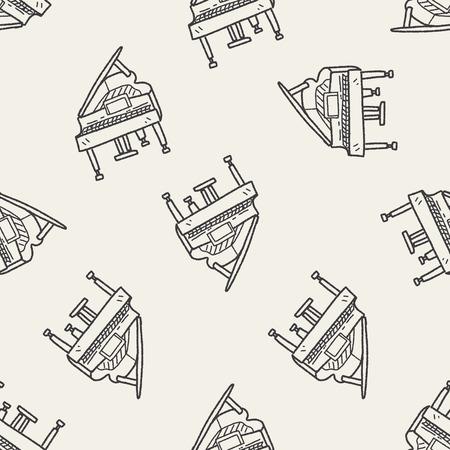 fortepian: fortepian doodle bezszwowe tło wzór