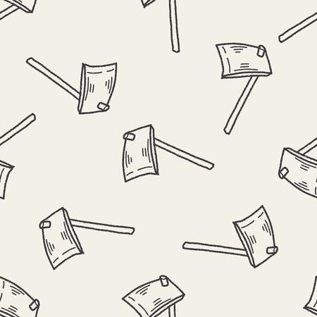 hoe: Hoe doodle seamless pattern background Illustration