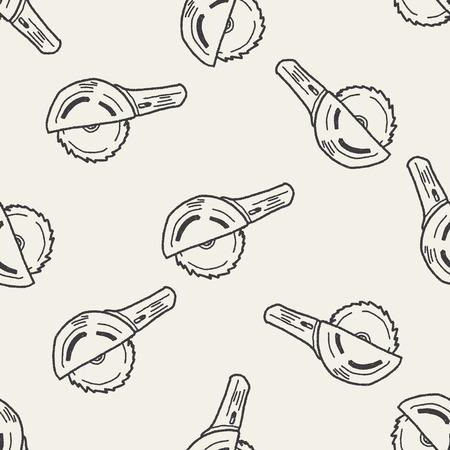 circular saw: Circular Saw doodle seamless pattern background Illustration