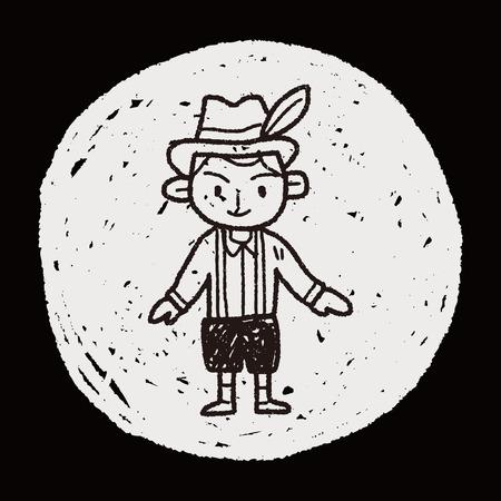 chope biere: Peuple allemand doodle Illustration