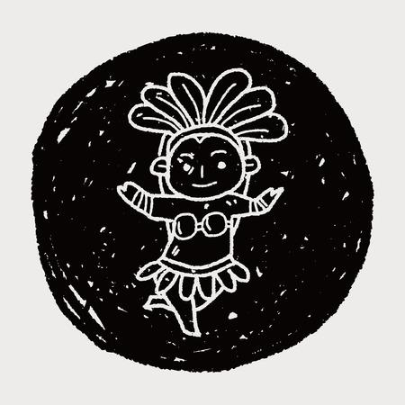 brazil dancer doodle Vector