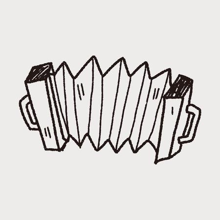acordeón: Acordeón del doodle Vectores