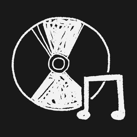 cd label: cd music doodle Illustration