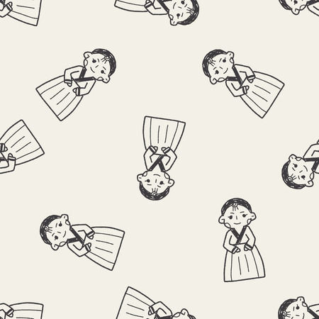korea: Korea woman doodle seamless pattern background
