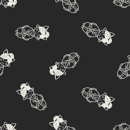 Japanese woman doodle seamless pattern background Vector