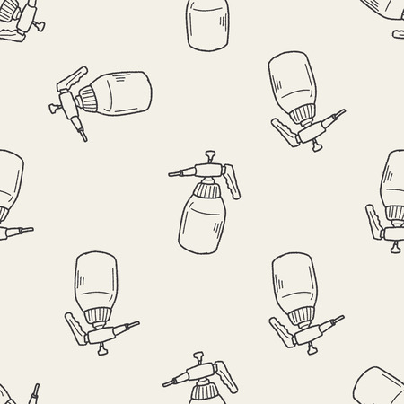 gardening hose: watering can doodle seamless pattern background